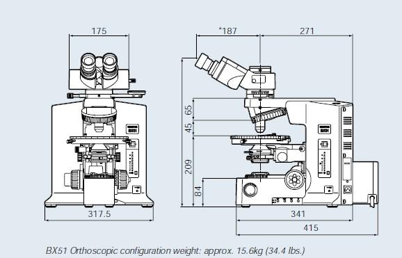 奥林巴斯偏光显微镜BX53-P外形尺寸1